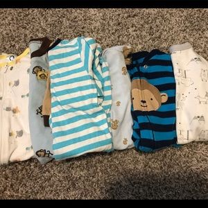 6 Baby Boy Sleepers: 0-3 months
